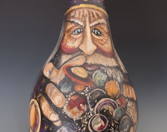 Hand Painted Gourd Art Wizard