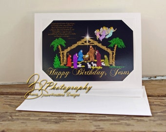 Nativity SparklArt Light Series Scripture Happy Birthday Jesus Merry Christmas Graphic Design Fine art print Greeting Card