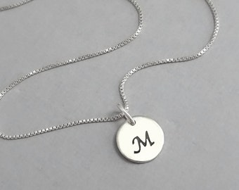 Tiny Sterling Silver Initial Necklace, Monogram Necklace, Sterling Silver Layering Necklace, Gift for Her, Girlfriend Gift, Gift for Mom