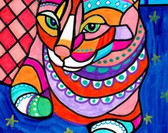 50% SALE- Cat Art -  Ginger Orange Tabby Cat Folk art Poster Print of Painting by Heather Galler (HG253)