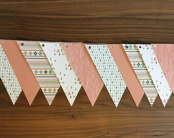 Cactus, ethnic, pink paper Garland