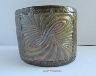 Antiqued Bronze Polymer Clay Cuff Bracelet