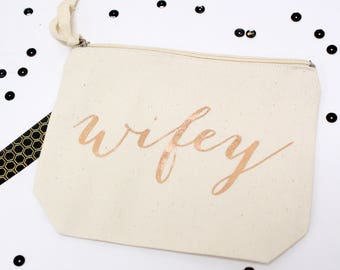 rose gold WIFEY makeup bag, valentine's day gift Bride to Be gift, Mrs makeup bag, Wifey pouch, Engagement Gift, canvas zippered pouch