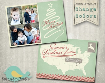Christmas Card PHOTOSHOP TEMPLATE - Family Christmas Card 98