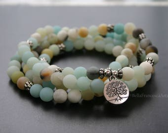 Mala Beads,Necklace,Frosted Amazonite,Gifts Under 20,108,8mm,Buddhist Prayer Bead,Tree of Life Charm,Bracelet,Zen,Rosary,Yoga Necklace