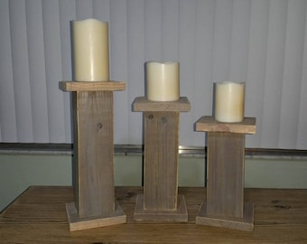 Wood Candle Holders,  Rustic Candle Holder, Candle Holder Set, Wooden Candle Holders, Rustic Decor,  Farmhouse Candle Holder - Set of 3