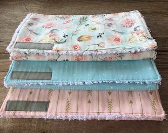 Boho Floral Print Handmade Burp Cloths, set of 3, baby items, shower gift, chenille burp cloths, baby girl gift, baby gift