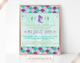 Mermaid Guest book Sign, Mermaid Party Sign, Birthday Sign, Under The Sea Sign, Printable Party Sign, Candy Bar Sign, Instant Download