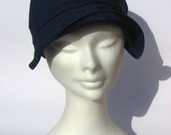 funky women vintage style cap, newsboy bakerboy cap, hat women,blujeans cotton, 30th style, size large, ready to ship