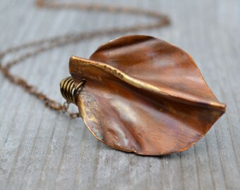 Copper Leaf Pendant Necklace Rustic Botanical Jewelry