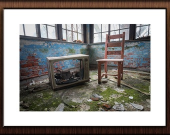 Abandoned Hospital Photography Print Fine Art Wall Art Gift - Broken Television TV & Chair Still Life - Urbex Urban Exploration