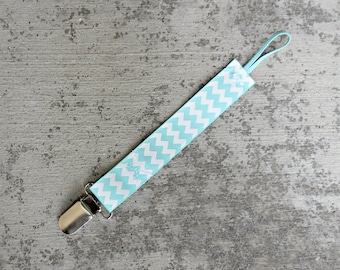 Pacifier Clip, Universal, Aqua Chevron Printed Ribbon with Elastic, fits most pacifier types including Soothie and MAM