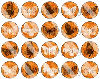 "1"" Bottlecap Circles Digital Collage Sheet - Printable Butterflies in Orange Circles For Bottlecaps Jewelry Cardmaking Magnets Stickers 004"