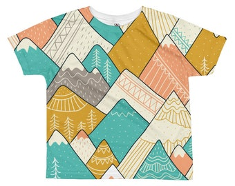 Boys Mountain Shirt, Geometric T-Shirt, Kids T-shirt, Bohemian Kids Shirt, Unique Kids Gift, Boys T-shirt, Modern Kids Clothing