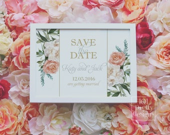 Printable floral save the date template botanical save the date design roses flowers printable save the date design floral