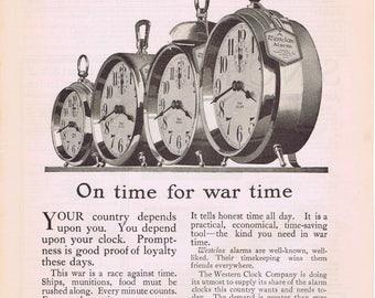 Westclox Alarm Clocks War Time WWI 1918 Original Vintage Advertisement Vintage Art