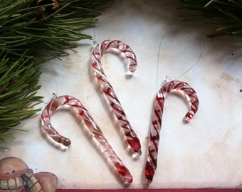 Red & White CANDY CANE Handblown Borosilicate Glass Christmas Ornament