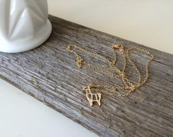 Gold Llama-- Llama Jewerly-- Alpaca Necklace--Gold Chain Necklace