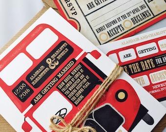 Vintage Red Bus - Wedding Stationery Set