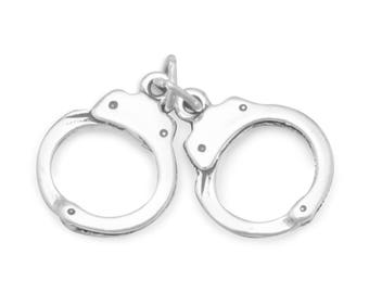 Handcuffs pendant etsy sterling silver pair of handcuffs charm pendant law enforcement police aloadofball Image collections