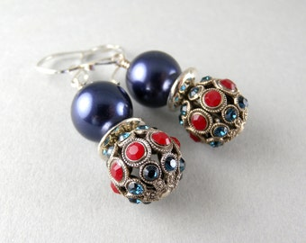 Vogue Silver Red and Blue Rhinestone Jewel with Navy Blue Swarovski Pearl Earrings with Free USA Shipping