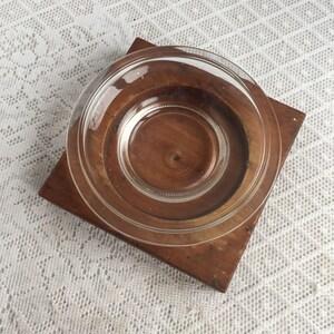 Vintage Wooden Cigar Ashtray / Wood and Glass Handmade Ashtray