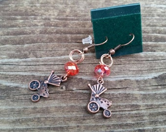 Baby Carriage New Mom Earrings - Copper Baby Carriage Charm earrings with pink crystal beads - Gifts for Her - Gender reveal