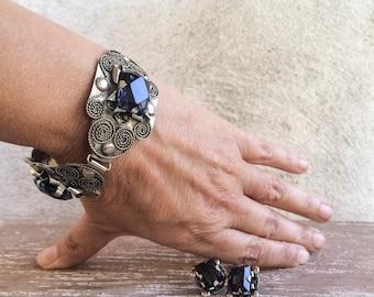 Vintage Taxco Jewelry Bracelet and Earrings Set Screwback Earrings Spanish Colonial Style Jewelry, Blue Rhinestone Jewelry, Mexican Jewelry