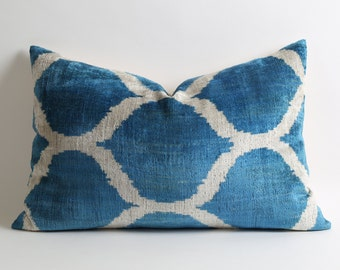 Decorative pillow for couch 16x24 throw pillows blue ikat velvet pillow cover blue white pillows nautical pillows coastal home pillow cases