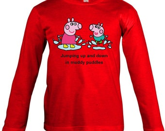Peppa Pig Muddy Puddles Long Sleeves T-shirt for children - available in many sizes and colours