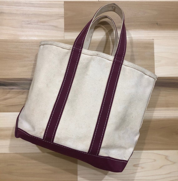 80s LL Bean Boat and Tote Canvas Bag Maroon Made In USA