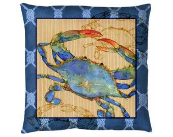 "Nautical Blue Crab : 18x18"" indoor outdoor throw pillow"