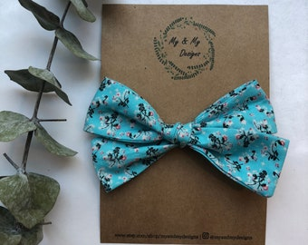 Oversized Blue Floral Hand Tied  Bow