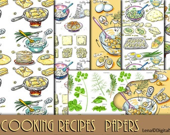 14 cooking recipes  Kitchen Backgrounds 12 inches INSTANT DOWNLOAD Digital Collage decoupage Scrapbooking papers
