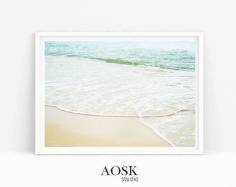 Waves Printable, Light Blue Print Beach Ocean, Wave Art Decor, Coastal Wall Art, Beach Photography, Waves Printable Art, Ocean Waves Photo