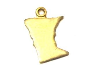 Blank - Tiny Raw Brass Minnesota State Charms (6X) (A422-1)