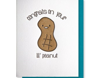 Cute Fun Letterpress Congrats on Your Lil Peanut Baby or Baby Shower Card