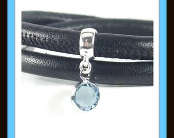 March Birthstone, Sterling Silver, Aquamarine Charm, Birthstone Charm Bracelet, Birthstone Charm Bead, Family Bracelet, Blue