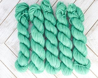 Elphie's Emeralds Mini - Hand Dyed Sock Yarn Heavy Fingering Weight 20g Mini Skein 92yds PlumpleBee Base 75/25 Superwash Merino/Nylon