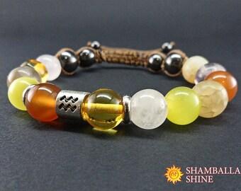 Aquarius jewelry Zodiac bracelet Gift for friend Yellow bracelet Warm color Birthstone bracelet February birthstone Gemstone jewelry Orange