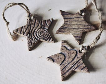 Woodgrain Star Ornament