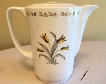 Vintage Porcelain Yellow Tulip Teapot
