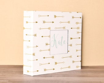 Baby Book, Baby Gift, Baby Album, Baby Memory Book, Baby Keepsake, Modern Baby Book, Gold Arrows Album