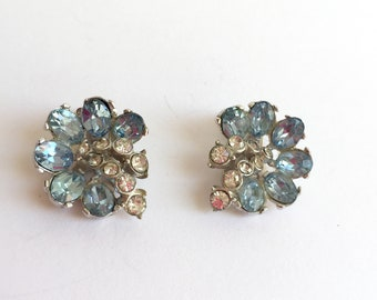Vintage Hollycraft Pale Blue and Clear Rhinestone Flower Clip On Earrings