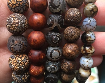 Custom for Donna | Cappuccino Cracked + Dzi Agate | 8 mm Beads | Spiritual Junkies | Yoga + Meditation | 4 Stackable Mala Bracelets