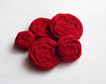 Cherry Red Fabric Rosettes Embellishment