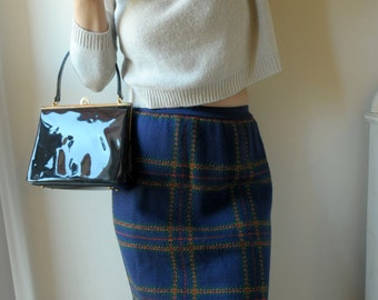 Knitted plaid pencil skirt