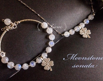 Moonstone Sonata set charm Bracelet and  Necklace silver 925 lucky clover leaf