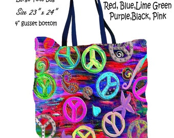 Peace sign multi color art double sided art printed beach bag from my artwork.