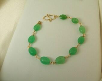 "Chrysoprase AAA 14k gold filled link bracelet handmade gemstone 7.5"" item 914"